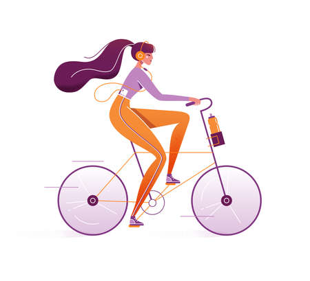 Pretty woman rides a bike. Girl riding bicycle with a bottle of water in basket. Young female character listening music in earphone. Sporty lifestyle concept, vector illustration in cartoon flat style