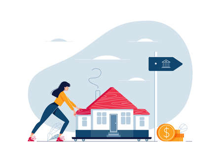 Mortgage refinancing concept. Woman carries a home to the bank. Female character draggs a house for loan refunding with getting cash out. Vector illustration isolated on white, cartoon flat design