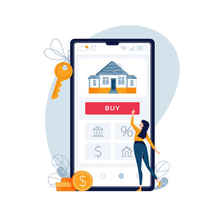 Buying house online. Woman buys real estate, touches the button on phone screen. Concept of mortgage loan or purchase of new home. Modern vector illustration isolated on white background, flat design