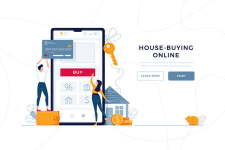 Buying a house online landing web page. Family buying a new home, touching the button on phone screen. Concept of mortgage loan, real property purchase. Modern flat design, cartoon vector illustration