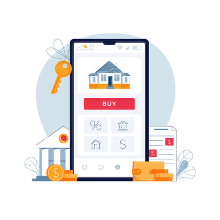 Buying a house online. Concept of mortgage online, purchase of new home. House, bank building, loan contract, house keys, Buy button on phone screen. Vector illustration isolated on white, flat design