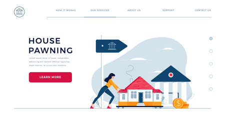 Web page design template for mortgage refinance. Woman drags a home to the bank for house pawning with getting cash out. Landing page with property refinancing concept. Flat design vector illustration