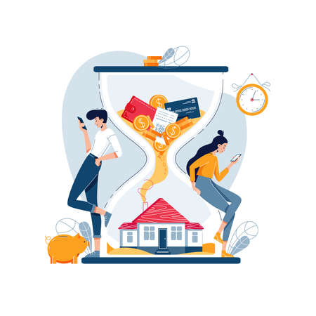 Property investment concept, wealth growth in long term. Flat cartoon people wait return of money investment in real estate. Buy a new home, family budget savings, save up a house. Vector illustration