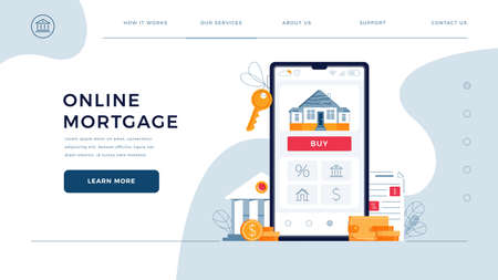 Mortgage online web page template for concept of new home buying online. House, bank building, loan contract, house keys, Buy button on phone screen. Landing page vector illustration in flat design
