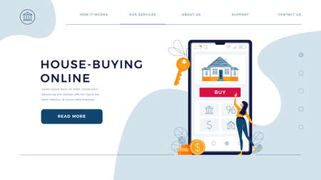 House-buying online homepage web template. Woman buys real estate, touches the button on phone. Dealing house, property purchase concept for website design. Flat modern cartoon vector illustration