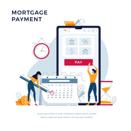 Mortgage payment online concept. Couple pay monthly interest and principal fee. Keep up for monthly regular payments vector illustration for website design. Modern flat tiny people vector illustration