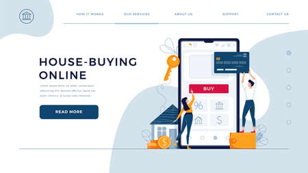 House buying online homepage template. Family buys a home, paying by credit card. Property web purchase, house loan, mortgage concept for web design. People in flat cartoon style, vector illustration