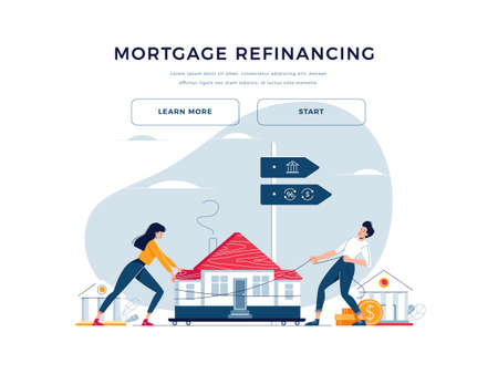 Mortgage refinance banner. Co-borrowers push and drag a home to the bank for house pawning with getting cash out. Property refinancing, house pawn vector illustration. Modern flat cartoon design