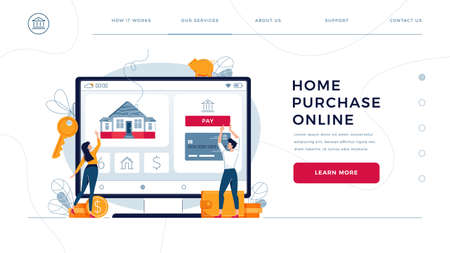 Home purchase online, template for homepage. Couple touching the button on monitor screen, buy a home. Concept of house-buying, property purchase online for website design. Flat vector illustration