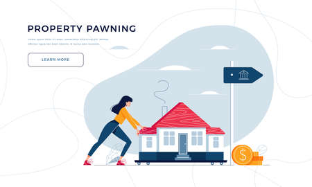 Property pawning template for landing page. Woman drags a home to the bank for house remortgage with getting cash out. Property mortgage, refunding concept for website design. Flat vector illustration