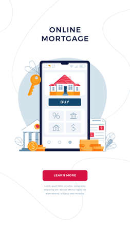 Online mortgage vertical banner for concept of new home buying. House, bank building, loan contract, house keys, Buy button on phone screen. Vector illustration in flat design