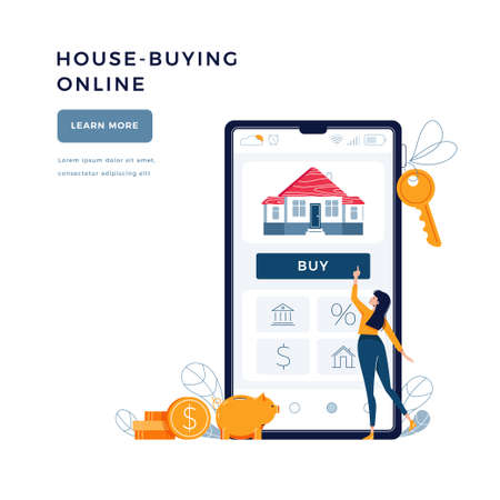 House-buying online banner. Woman buys a home paying by credit card. Dealing house, property web purchase, mortgage concept for website, emailing. People in flat cartoon design, vector illustration