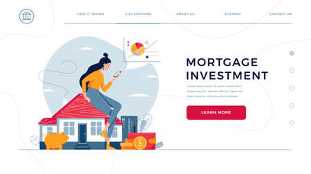 Mortgage investment homepage template. Woman sitting on the house, analyzes profit from property buying or rent. Buy real estate, investment income concept for website design. Flat vector illustration
