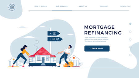 Mortgage refinancing homepage template. Co-borrowers push, drag a home to the bank for house pawning with getting cash out. Property refinance, re-mortgage for website design. Flat vector illustration Vektorgrafik