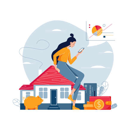 Property investment vector illustration. Woman sitting on the house, analyzes profit from real estate buying or rent. Property investment income, money, financial wealth concept for banner. Flat style