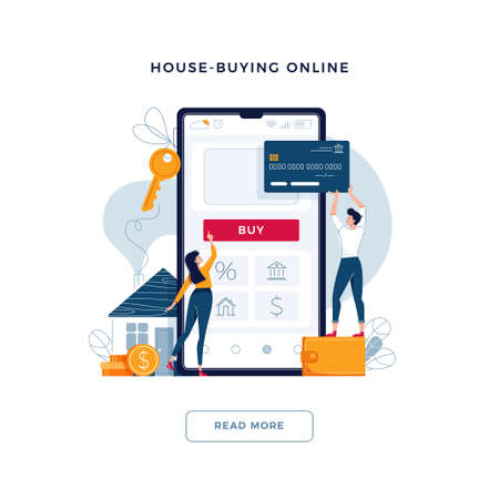 House-buying online banner. Couple buy a home paying by credit card. Mortgage, dealing house, property web purchase concept for web site, emailing. People in flat cartoon design, vector illustration Illusztráció
