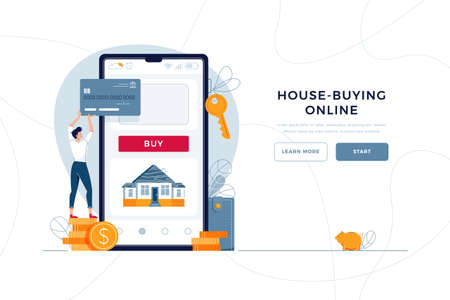 House-buying online landing page template. Man buys a new home, paying by credit card. mortgage, property purchase, house loan concept for web design.