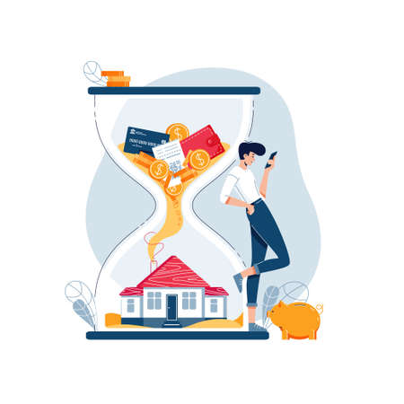 Real estate investment concept. Investor awaits a generating income from long-term investing in property. Passive income, cash flow, make money in property for website design. Flat vector illustration
