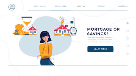 Mortgage or savings choice homepage web template. Woman thinking to save money or to get a loan for big house. New home buying, finance planning for website design. Flat cartoon vector illustration