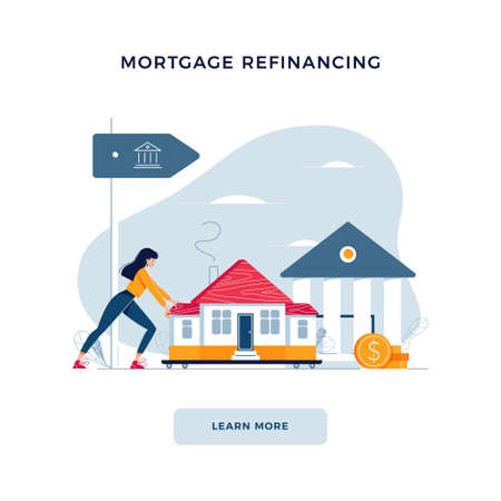Mortgage refinancing banner. Woman drags a home to the bank for house pawning with getting cash out. Property re-mortgage, refunding concept for web, emailing design. Modern flat vector illustration