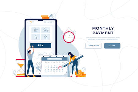 Monthly payment homepage template. Man pays regular fees online, woman makes notice in calendar. Keep up with monthly payments concept for web design. People in flat cartoon style, vector illustration