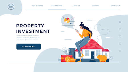 Property investment homepage template. Woman sitting on the house, calculates income from real estate buying, rent. Buy a property, investment profit. Vector illustration, modern flat cartoon design Illusztráció