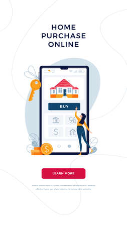 Home purchase online banner. Woman buying a new house, touching the button on phone screen. Mortgage, digital web property purchase concept for web, emailing design. Modern flat vector illustration Illusztráció