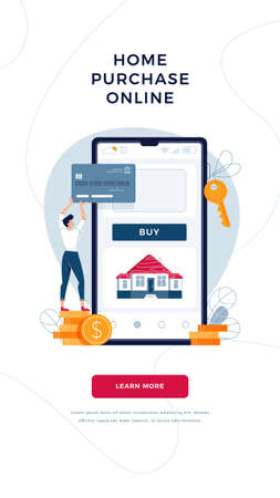 Home purchase online banner. Man buys a house paying by credit card and phone. Mortgage, property web purchase vector illustration for website, emailing. Tiny people concept, modern flat cartoon style