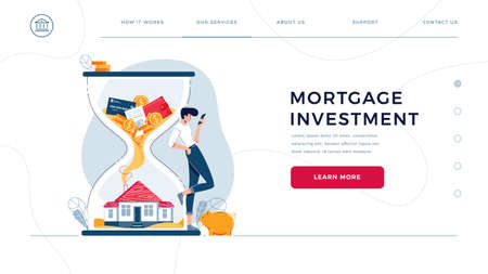 Mortgage investment homepage template. Investor awaits a generating profit from long-term investing. Rising housing market, make money in property concept for website design. Flat vector illustration