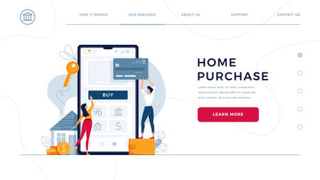 Home purchase online homepage template. Family buys new house, touching the button on phone, paying by credit card. Home-buying, property digital purchase for web site design. Flat vector illustration Illusztráció