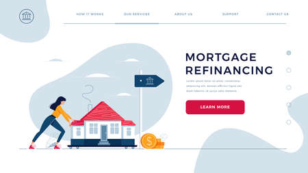 Mortgage refinancing homepage template. Woman drags a home to the bank for house pawning with getting cash out. Re-mortgage, property refinance concept for web site design. Flat vector illustration
