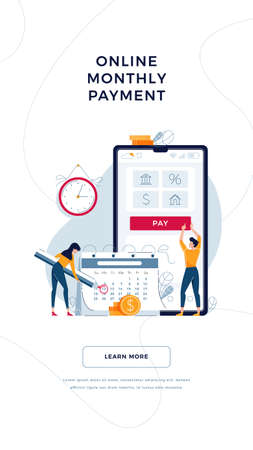 Online monthly payment banner. Tiny people pay regular payments online, making notice in calendar. Keep up with monthly fees concept. Design for web, emailing. Modern flat cartoon vector illustration