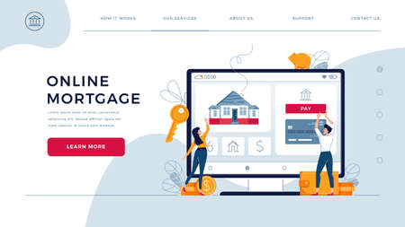 Mortgage online homepage web template. Couple buy a new home, touching the button on screen. Dealing house, property digital purchase, get a loan concept for website. Flat cartoon vector illustration
