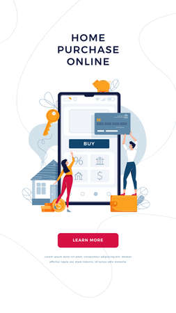 Home purchase online banner. Borrowers buy a new house, touching the button on phone, paying by credit card. Home-buying, property digital purchase concept for website design. Flat vector illustration Ilustración de vector