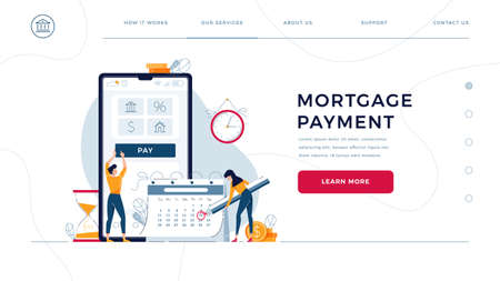 Mortgage payment homepage template. Borrowers pay regular fees online, making notice in calendar. Keep up with monthly payments concept for web design. Cartoon people, flat style, vector illustration