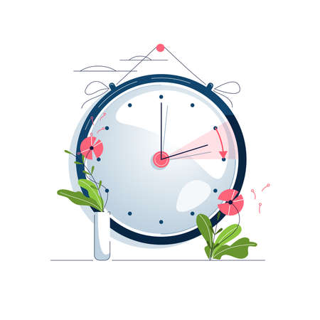 Daylight Saving Time vector illustration. The clocks moves forward one hour to daylight-saving time. Floral decoration, pink flowers. Turning to summer time, spring clock changes concept. Flat style