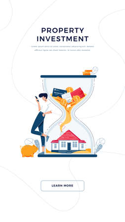 Property investment banner. Investor awaits a generating income from long-term investing. Make money in property, passive income, cash flow concept for web, emailing. Flat design vector illustration