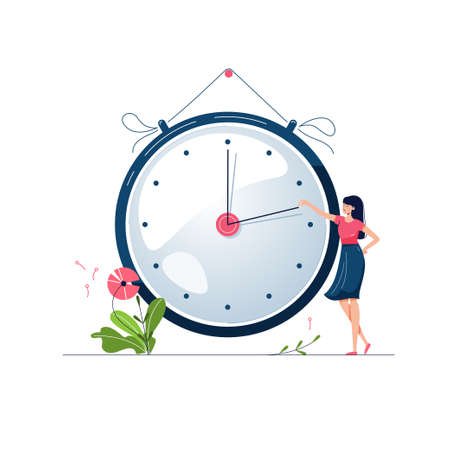 Daylight saving time vector illustration. Woman turns the hand of the clock forward by an hour. Floral decoration with pink flowers. Turning to summer time, spring clock changes concept. Flat style Ilustracja