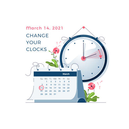 Daylight Saving Time begins concept. The clocks moves forward one hour. Calendar with marked date. DST begins in USA, spring clock changes for banner, web, emailing. Flat design vector illustration