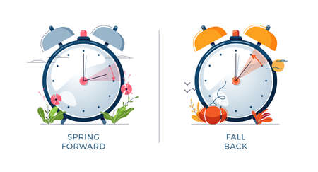 Daylight Saving Time concept. Set of alarm clocks, text fall back, spring forward. Landscapes collection, the clocks turning to summer and winter time for website design. Flat vector illustration