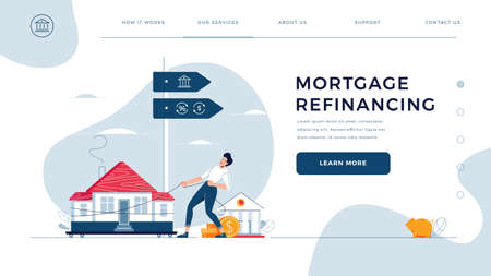 Mortgage refinancing homepage template. Man drags a home to the bank for house pawning with getting cash out. Re-mortgage, property refinance concept for web site design. Flat vector illustration