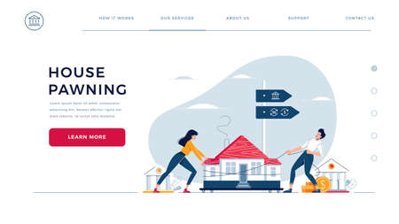 House pawning web homepage template. Co-borrowers drag home to the bank for mortgage refinancing with getting cash out. Property refinance, re-mortgage vector illustration. Modern flat cartoon design