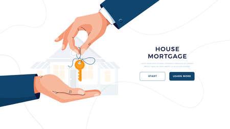House mortgage banner. Male hand giving keys for property buying. Deal sale, mortgage loan, real estate, dealing house, property purchase concept concept for website design. Flat vector illustration Vektorové ilustrace