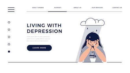 Depression, sadness, mental illness web template. Sad, unhappy teenage girl sits under rain cloud, feels sad, grievs. Mental disorder, sorrow, depression concept for homepage. Flat vector illustration