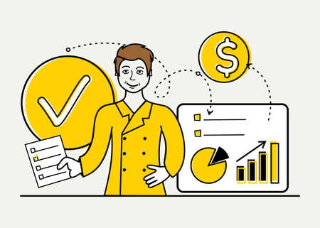 Marketing strategy vector illustration in yellow and black the girl behind the mental process
