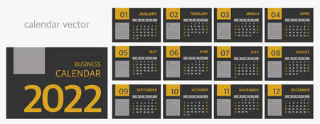 Calendar for 2022 in business style. A set of 12 months. The week starts on Sunday.