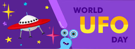 Vector illustration of a ufo plane, a flying saucer, with stars and humanoids. You can apply it to a poster template or banner. World Ufo Day.
