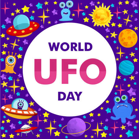 World Ufo Day. Vector illustration of a ufo plane, a flying saucer, with the planet Saturn and humanoids. You can apply it to a poster template or banner.