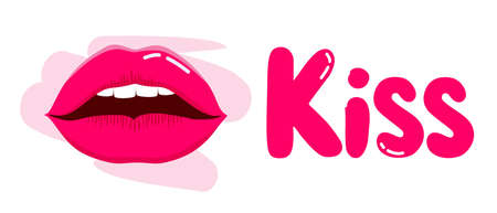 Illustration of a kiss in pink. world kissing day. Banner for websites, apps, T-shirts, mugs, and print. Vetores
