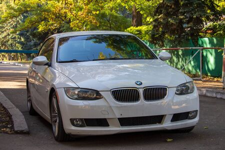 White-colored car without license plate in a standard place - Ukraine- Odessa - 10.17.2019